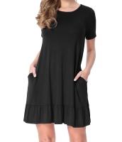 ブラック 半袖 ドレープ 裾周り カジュアル シャツ ドレス lc220060-2