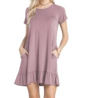 グレープ パープル 半袖 ドレープ 裾周り カジュアル シャツ ドレス lc220060-22