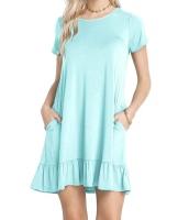 ベビー ブルー 半袖 ドレープ 裾周り カジュアル シャツ ドレス lc220060-4