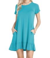 ブルー 半袖 ドレープ 裾周り カジュアル シャツ ドレス lc220060-5