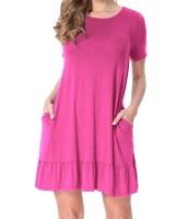 ローズ 半袖 ドレープ 裾周り カジュアル シャツ ドレス lc220060-6