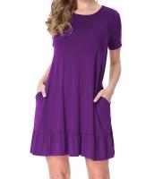 パープル 半袖 ドレープ 裾周り カジュアル シャツ ドレス lc220060-8