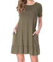 アーミー グリーン 半袖 ドレープ 裾周り カジュアル シャツ ドレス lc220060-9