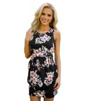 ブラック 花柄 ノースリーブ・袖なし ショート ドレス lc220079-2