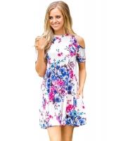フリル コールドショルダー ホワイト 花柄 ドレス lc220085-1