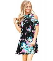 フリル コールドショルダー ブラック 花柄 ドレス lc220085-2