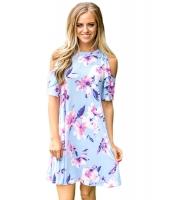 フリル コールドショルダー ライト ブルー 花柄 ドレス lc220085-4