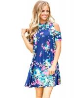 フリル コールドショルダー ブルー 花柄 ドレス lc220085-5