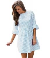 ブルー ホワイト ストライプ ひだ飾り 袖 シアサッカー ドレス lc220092-4