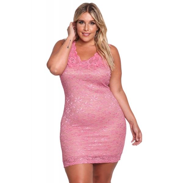 ピンク 大きいサイズ 花柄 レース入り ボディコン ドレス cc220095-10