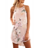 夏物 花柄 ピンク シフォン生地 袖なし ドレス cc220101-10