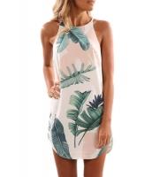 ヤシの葉 アイボリー シフォン生地 袖なし ドレス cc220101-4