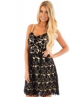 ブラック 袖なし クローシェ編み ドレス cc220102-2