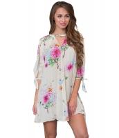 白地 花柄 ドレス スリット入り袖 cc220105-1