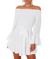 ホワイト フレア袖 ドロップ裾 ジョーゼット系生地 オフショルダー ドレス cc220116-1