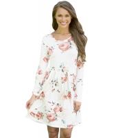 ホワイト シック 長袖 ボヘミアン 花柄 ドレス cc220125-1