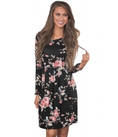 ブラック シック 長袖 ボヘミアン 花柄 ドレス cc220125-2