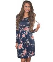 ネイビー ブルー シック 長袖 ボヘミアン 花柄 ドレス cc220125-5