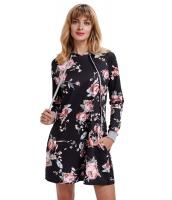 ブラック 花柄 フード付き ドレス cc220131-2