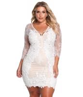 ホワイト 大きいサイズ 花柄 レース入り 刺繍入り ドレス cc220134-1