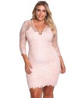 ピンク 大きいサイズ 花柄 レース入り 刺繍入り ドレス cc220134-10