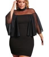 ブラック 大きいサイズ セミシースルー ドレス cc220153-2