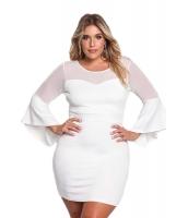 ホワイト 大きいサイズ メッシュ ワイド袖 ボディコン ドレス cc220174-1
