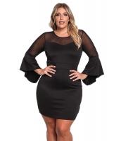 ブラック 大きいサイズ メッシュ ワイド袖 ボディコン ドレス cc220174-2