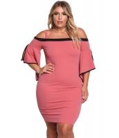 ピンク 大きいサイズ コールドショルダー ワイド袖 ボディコン ドレス cc220177-10