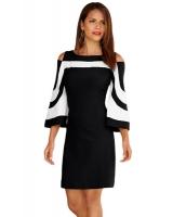 ブラック ホワイト パチワーク ドレス cc220190-2