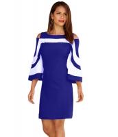 ロイヤルブルー ホワイト パチワーク ドレス cc220190-5