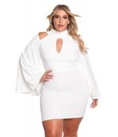 ホワイト 大きいサイズ カットアウト ワイド袖 ボディコン ドレス cc220238-1