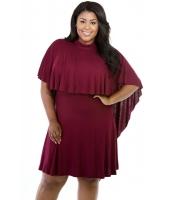 ビッグ ガール ケープ オーバーレイ ワインレッド 曲線美 ドレス cc22501-1