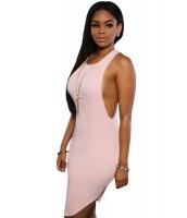 ピンク 大胆 ノースリーブ・袖なし ニット ドレス ボディコンドレス cc22619-10