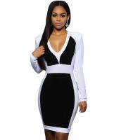 ブラック ホワイト ブロック 長袖 ミディ ドレス cc22624-2