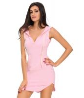 ピンク コットン スウェット パーカー ドレス cc22654-10