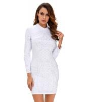 ホワイト スタッズ 長袖 ドレス cc22667-1