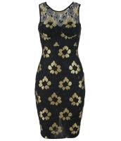 ゴールデン 刺繍 ブラック 花柄 ドレス cc22668-2