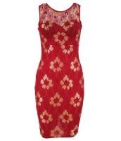 ゴールデン 刺繍 レッド 花柄 ドレス cc22668-3