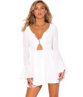 ホワイト フリル ロング ベルスリーブ ネックライン ドレス cc22673-1