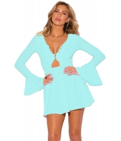 ライト ブルー ロング ベルスリーブ ネックライン ドレス cc22673-4