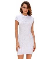 ホワイト ゴールド スタッズ 半袖 ドレス cc22693-1