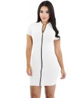 ホワイト ファンキー ジップ セクシー ドレス cc22710-1