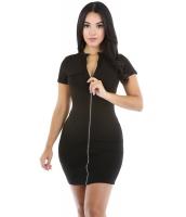 ブラック ファンキー ジップ セクシー ドレス cc22710-2