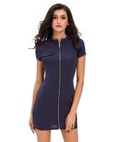ネイビー ブルー ファンキー ジップ セクシー ドレス cc22710-5