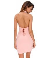 ピンク レースアップ バック ホルターネック ドレス cc22713-10