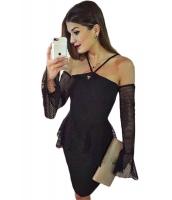 ブラック チュール ぺプラム ドレス オーバースリーブ cc22810-2