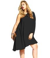 ブラック 非対称ワンショルダー 大きいサイズ ドレス cc22814-2