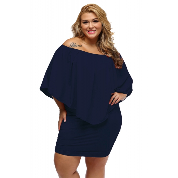 大きいサイズ マルチ ドレス レイヤー ダーク ブルー ミニドレス lc22820-105p