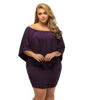 大きいサイズ マルチ ドレス レイヤー パープル ミニドレス lc22820-8p